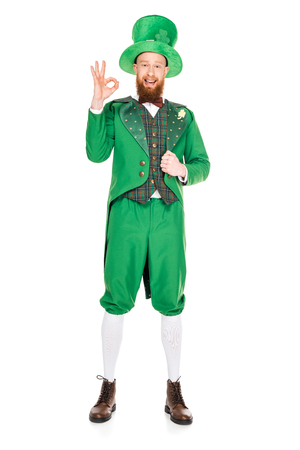Photo for handsome leprechaun in green suit and hat with ok sign - Royalty Free Image