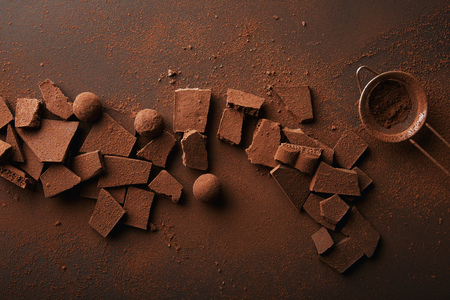 Photo pour top view of arrangement of various types of chocolate, truffles and sieve with cocoa powder - image libre de droit