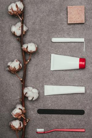 Photo pour top view of arrangement of various feminine hygiene supplies and cotton twig - image libre de droit