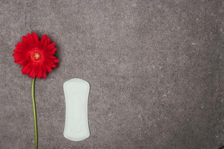 Photo pour top view of arranged menstrual pad and red flower - image libre de droit