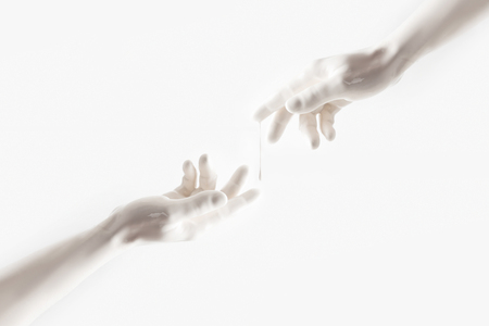 Photo pour cropped image of woman and man reaching out with hands - image libre de droit