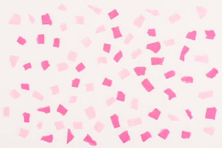 Photo for top view of white texture with pink paint stains for background - Royalty Free Image