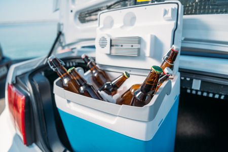 Foto de close up view of portable fridge with beer standing in car - Imagen libre de derechos