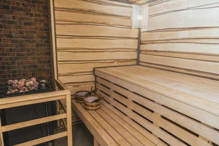 Photo pour interior of moder wooden finnish sauna - image libre de droit