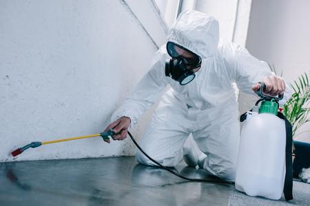 Foto de pest control worker spraying pesticides on floor at home - Imagen libre de derechos