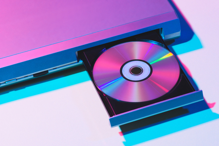 Photo for close up view of dvd player with disk - Royalty Free Image