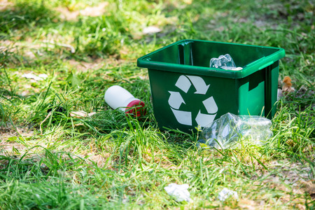 Foto de recycling box and plastic trash on green grass - Imagen libre de derechos