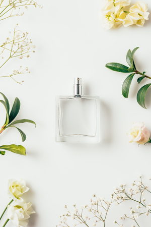 Foto de top view of bottle of perfume surrounded with flowers and green branches on white - Imagen libre de derechos