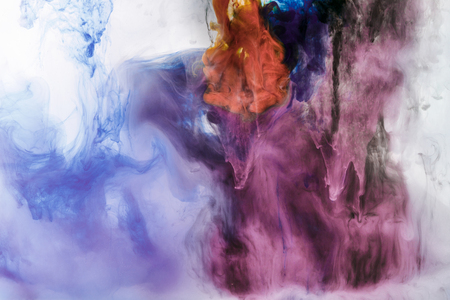 Photo for creative background with blue and violet flowing paint in water - Royalty Free Image
