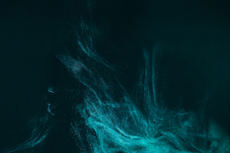 Photo for abstract artistic background with turquoise paint flowing on black - Royalty Free Image