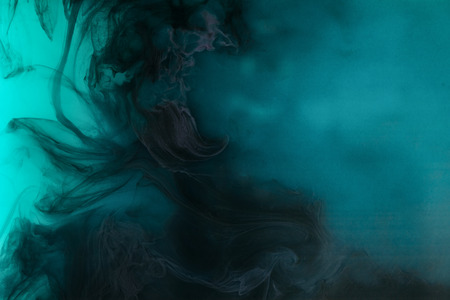 Photo for abstract background with black watercolor paint in turquoise water - Royalty Free Image