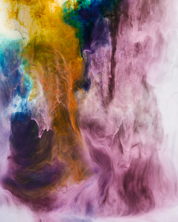 Photo for creative background with violet and orange swirls of paint - Royalty Free Image