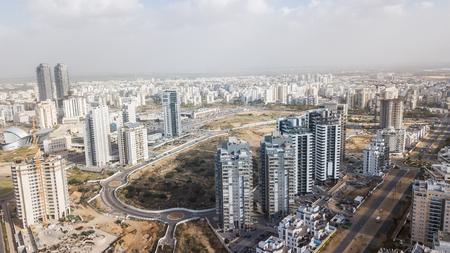 Photo pour aerial view of modern city district with apartment buildings, Ashdod, Israel - image libre de droit