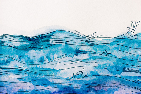 Foto de sea waves made by blue watercolor paint on white background - Imagen libre de derechos