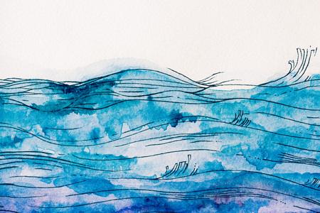 Foto de sea waves made by blue watercolor paint on white background - Imagen libre de derechos