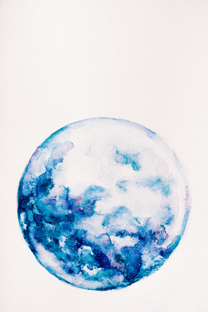 Photo for planet made of blue watercolor paint on white background - Royalty Free Image