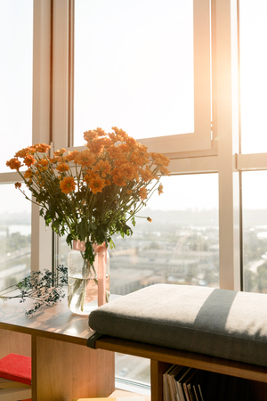Photo for close up view of beautiful bouquet of flowers standing at window - Royalty Free Image