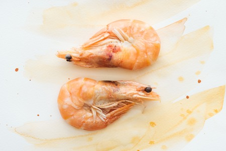 Photo for top view of tasty shrimps on white tabletop with watercolor strokes - Royalty Free Image