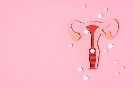 Foto de Top view of female reproductive system and pills on pink background - Imagen libre de derechos