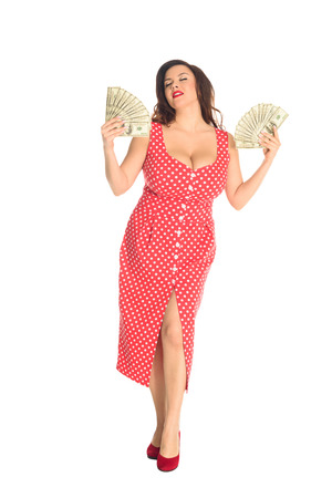 Photo pour Satisfied beautiful plus size woman with lot of cash isolated on white background - image libre de droit