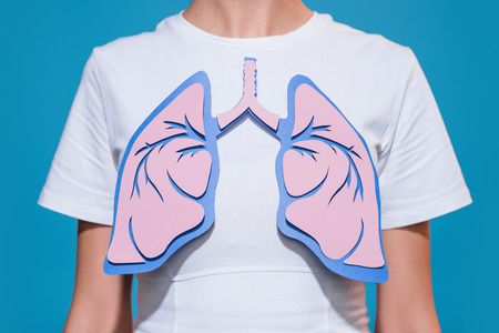 Foto de Partial view of woman in white tshirt with paper crafted lungs on blue backdrop - Imagen libre de derechos