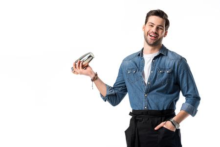 Foto de cheerful barman in apron with shaker in hand isolated on white - Imagen libre de derechos