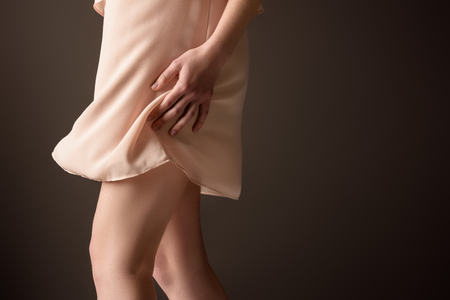 Photo for cropped view of girl in elegant chiffon dress, isolated on grey - Royalty Free Image
