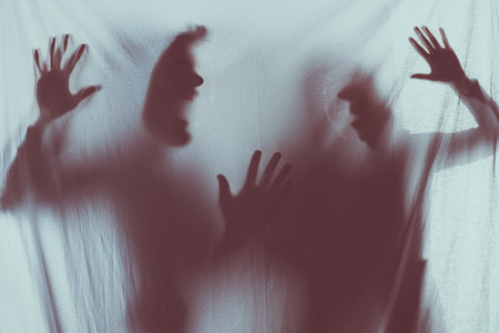 Photo for blurry scary silhouettes of screaming people - Royalty Free Image