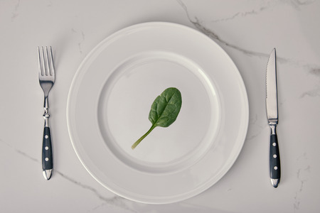 Photo pour empty plate with fork and knife with spinach leaf on white marble background, health and dieting concept - image libre de droit