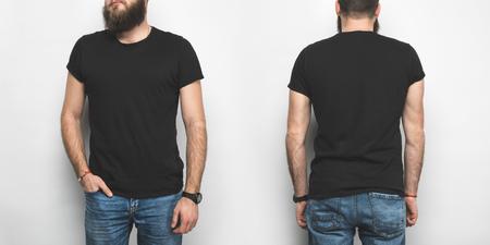 Foto de front and back view of man in black t-shirt isolated on white - Imagen libre de derechos