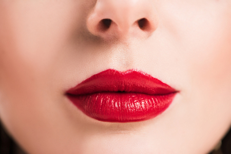 Foto per cropped image of woman with red lips and clean skin - Immagine Royalty Free