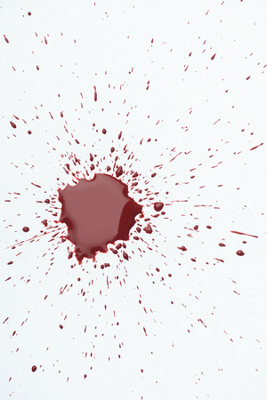 Photo for top view of messy blood splash with small droplets on white surface - Royalty Free Image