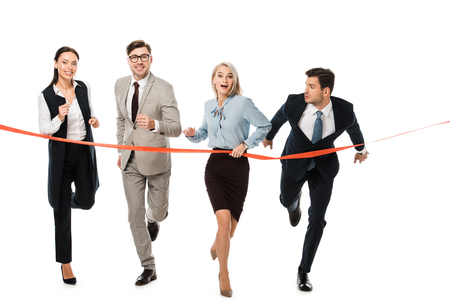 Photo pour businesspeople reaching finishing line isolated on white - image libre de droit