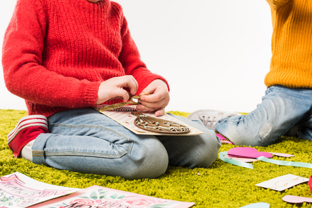 Photo for cropped shot of little child making diy greeting card - Royalty Free Image