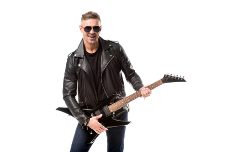 Photo for handsome adult man in leather jacket holding electric guitar isolated on white - Royalty Free Image
