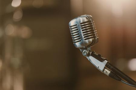 Photo pour close-up shot of vintage microphone on blurred background - image libre de droit