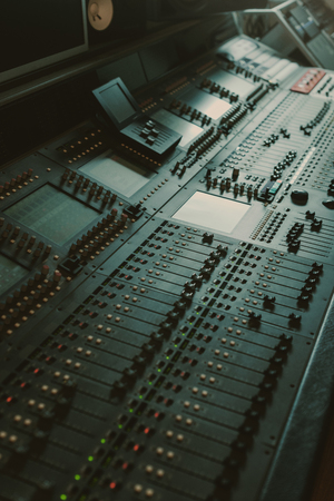 Photo for modern analog graphic equalizer at sound recording studio - Royalty Free Image