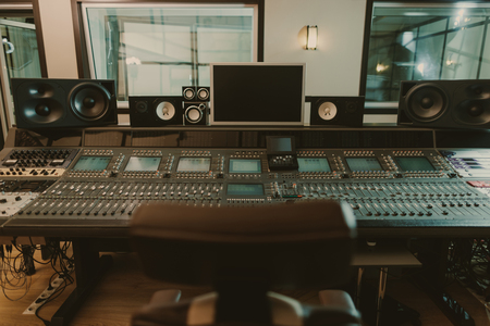 Photo for view of sound producing equipment at recording studio - Royalty Free Image