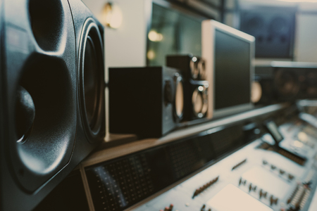 Photo for close-up shot of dynamic monitors at recording studio - Royalty Free Image