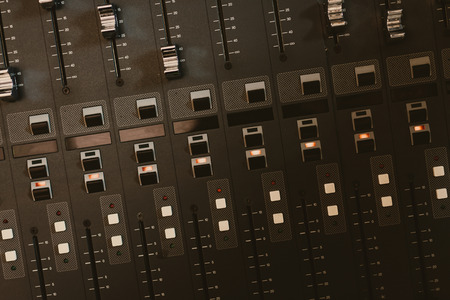 Photo for top view of analog graphic equalizer at recording studio - Royalty Free Image