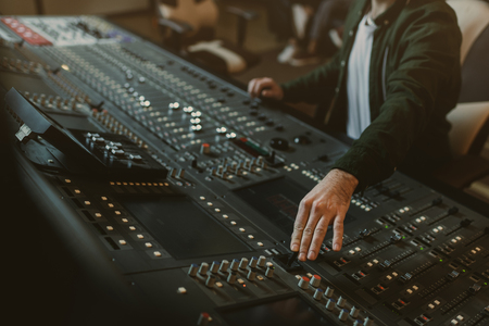 Photo for cropped shot of sound producer working with recording equipment - Royalty Free Image