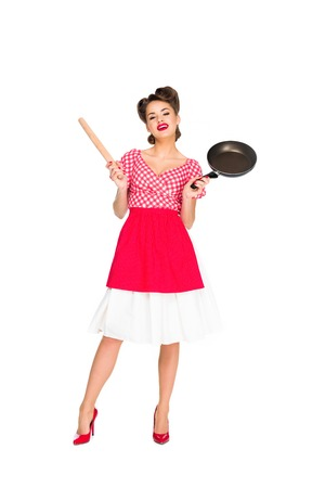 Photo for stylish woman in retro clothing with rolling pin and frying pan isolated on white - Royalty Free Image