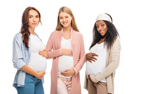 Photo for multiethnic pregnant women standing together isolated on white - Royalty Free Image