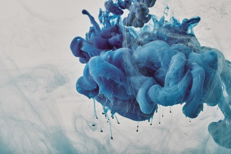 Photo for background with blue smoky paint splash - Royalty Free Image
