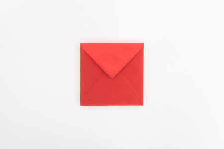 Foto de flat lay with red envelope isolated on white, st valentine day concept - Imagen libre de derechos