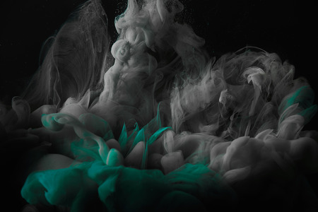 Photo for abstract dark background with green and grey splashes of mixing ink - Royalty Free Image