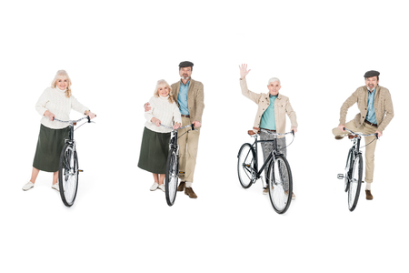 Photo pour collage of cheerful pensioners standing near bicycles isolated on white - image libre de droit