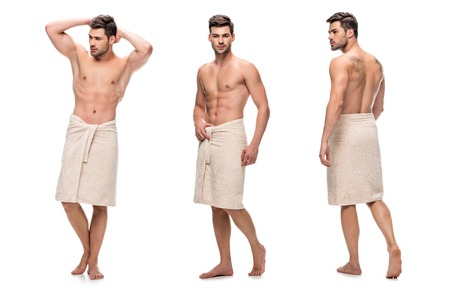 Foto de collage of handsome young man wrapped lower body with towel, upper body without clothes isolated on white - Imagen libre de derechos