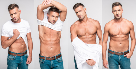 Foto de collage of handsome man taking off white t-shirt and stripping torso on gray background - Imagen libre de derechos