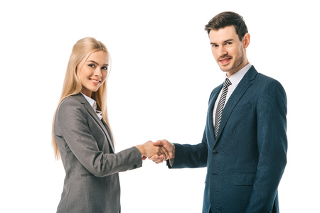 Photo for handsome businessman and beautiful businesswoman shaking hands and making deal isolated on white - Royalty Free Image